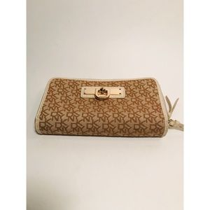 DKNY Monogram Tan Brown Double Zip Wallet